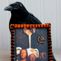 Spooky Mixed Media  Halloween Ornament with Human Heads, Wax Museum People Mix Assemblage Art, Orange and Black Decoration, Steampunk Goth