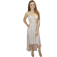 Abbey Lace Cut Out Dress in Nude