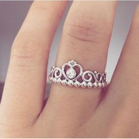 Pandora silver crown ring synthetic rhinestone-1