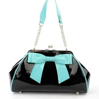 Bow Handbag in Black with Teal Bow by Pinup Couture