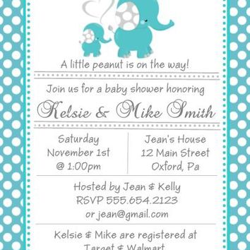 10 Blue Polka Dot Elephant Baby Shower Invitations