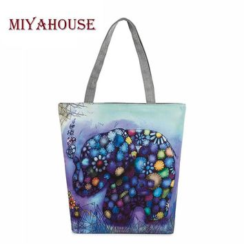 Cartoon Elephant Printed Casual Tote Female Canvas Handbags Daily Use Single Shoulder Bags Women Canvas Shopping And Beach Bag
