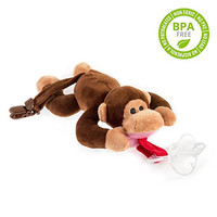 BabyHuggle Monkey Pacifier - 4 in 1 Animal Stuffed Binky, Soft Plush Toy with Detachable Silicone Baby Paci, Dummy Clip & Squeaky Sound. Teether Holder. 100% Safe & Soothing. Ideal Baby Shower Gift