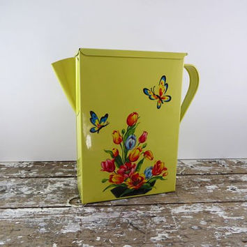 Flour Container with Spout Yellow Metal Tin Flowers and Butterfly Tin