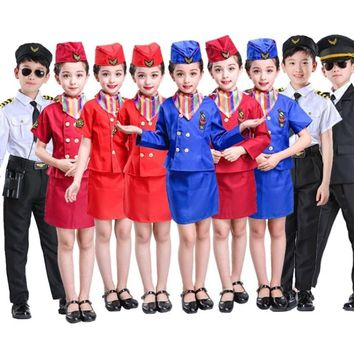 Cool Children Air Force Less Clothing Pilot Uniforms Boys Girls Airline Costumes Stewardess Flight Service Cosplay Performance SetAT_93_12