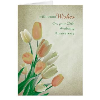 Beige Cream Tulips Wedding Anniversary Card