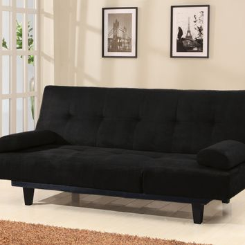 Adjustable Microfiber Sofa With Arm Pillows, Black