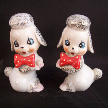 White Poodle Figurines Set Japan Vintage 1950s Red Bow Tie Ceramic Dogs