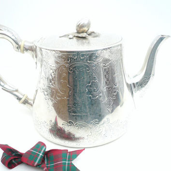 Antique Silver Teapot, English, Sterling, Solid, Hallmarked London 1851, Walter Morrisse, REF:224V