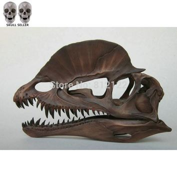 P-Flame Dilophosaurus Ryrannosaurus Resin Dinosaur Skull Model Collection Size:20*8*12.5cm Handmade Antique Imitation Decoration