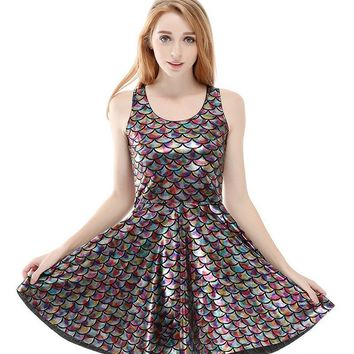 Colorful Grey Silver Wet Look Mermaid Fish Scale Printed Skater Dress
