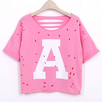 Letters A Print Back Cutout Short Sleeve Cropped Top
