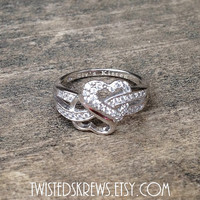 Custom Engraved BDSM 925 Sterling Silver CZ heart infinity ring kitten little babygirl  ddlg promise ring polyamorous relationship triad
