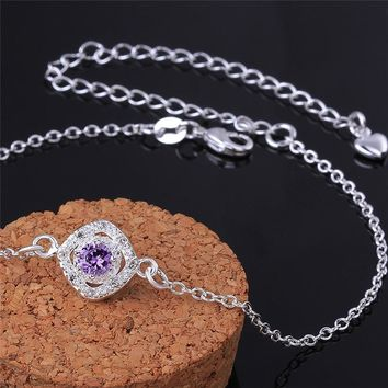 DILILI Classic Purple Zircon Crystal Round Ankle Bracelet For Women Simple Summer Silver Color Chain Anklets Women Jewelry A037