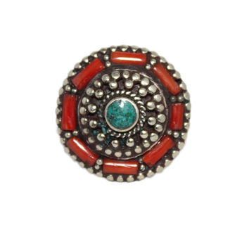 Round coral gypsy ring