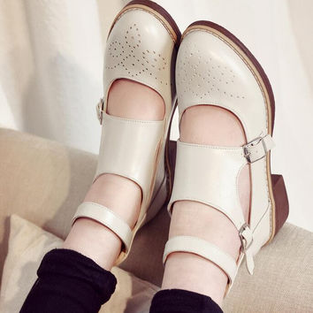 Hollow Out Platform Oxford British Style Creeper Flat