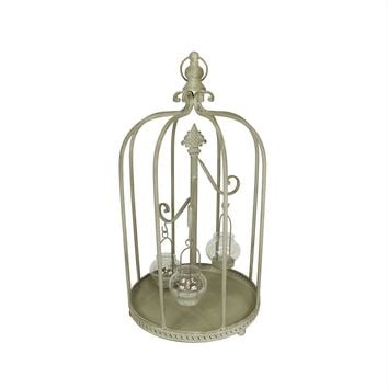 "26"" Vintage Rose Antique-Style Distressed Gray-Washed Taupe Metal Birdcage Tea Light Candle Holder"