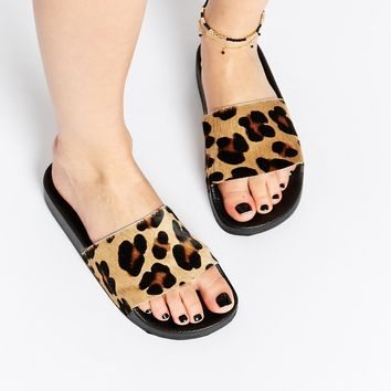 KG By Kurt Geiger Leopard Print Slider Flat Sandals