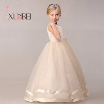 8 Colors Princess Kids Communion Dresses Big Bow Flower Girl Dresses For Weddings 2017 Organza Peagant Wedding Party Dress