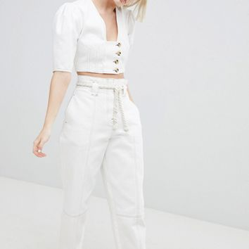 ASOS DESIGN Paper Bag Waist Boyfriend Jeans With Rope Belt In White With Contrast Stitch at asos.com