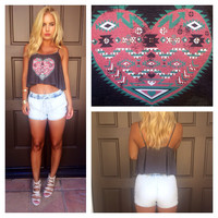 Heart of Aztec Crop Tee- Charcoal Grey