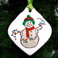 Hand Painted Christmas Ornament With A Snowman