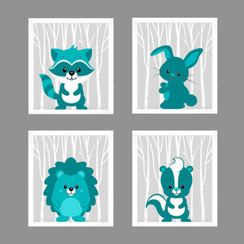 Woodland Animals, CUSTOMIZE COLORS, 8x10 Prints, set of 4, Teal on Gray Raccoon Bunny Skunk Porcupine Nursery Decor Print Art Baby Room Girl