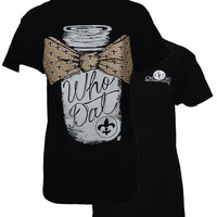 Southern Couture New Orleans Saints Who Dat Maon Jar Bow Fleur De Lis Girlie Bright T Shirt