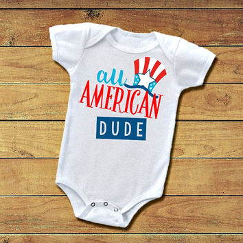 July 4th Baby Boy Outfit Red White All American Dude Bodysuit 4th of July Custom T-Shirt Funny Tee Personalized Onesuit Outfit Infant Toddler