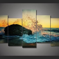 Ocean Rock Splash 5-Piece Wall Art Canvas