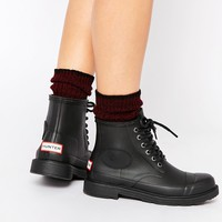 Hunter Original Bullseye Derby Black Lace Up Wellington Boots