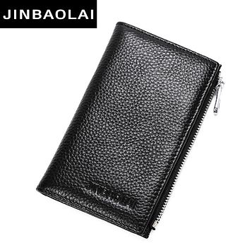 New Thin Leather Business Card Wallet Zipper Brand Design Card Holder With Coin Pocket Bi Fold Male Purse High Quality Cards