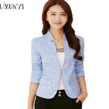 2017 Spring V Neck Stylish Women Blazers Blue Korean Slim Fit Female Blazer Women Office Work Suit Jackets White Blue Plus Size