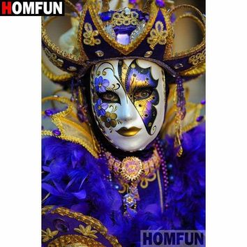5D Diamond Painting Purple and Gold Mask Masquerade Kit