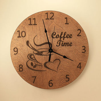 Coffee cup laser cut clock Coffee time Kitchen clock Dining room clock Home clock Wood clock Wall clock Wooden wall clock Coffee lover gift