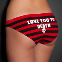 'Love You To Death' Striped Bikini Panty