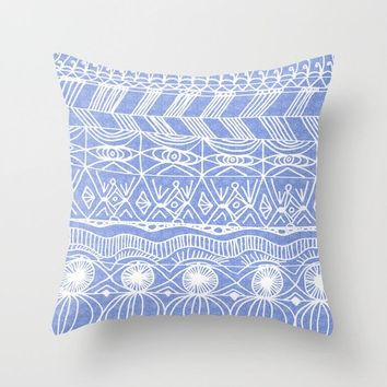 Periwinkle Pattern Throw Pillow  - abstract art home decor, pillows, cushions, coastal decor