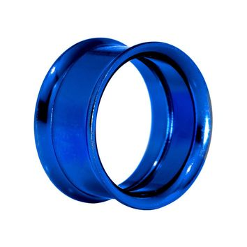 "7/8"" Royal Blue Anodized Titanium Screw Fit Tunnel"