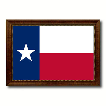Texas State Flag Canvas Print with Custom Brown Picture Frame Home Decor Wall Art Decoration Gifts