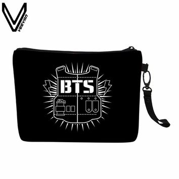 VEEVANV new fashion BTS canvas simple and light makeup bag kpop bangtan girl makeup bag forever young Organizer Bag