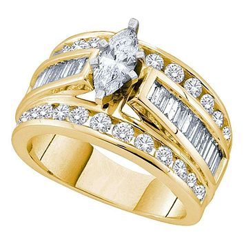 14kt Yellow Gold Women's Marquise Diamond Solitaire Bridal Wedding Engagement Ring 3.00 Cttw - FREE Shipping (US/CAN) (Certified)