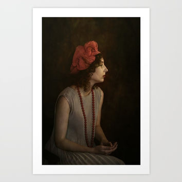 Girl with red necklace Art Print by Guna Andersone & Mario Raats - G&M Studi