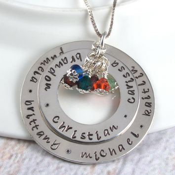 Grandmother's Necklace, Double Washer with Birthstones, Sterling Silver Hand Stamped Necklace