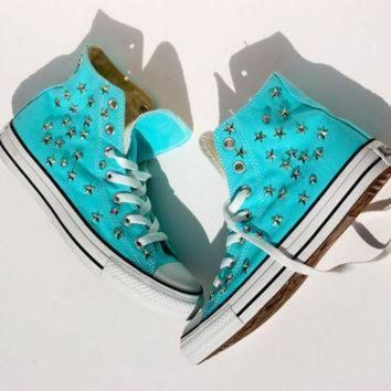ICIKGQ8 star studded tiffany converse studded converse high tops star and rhinestone stu
