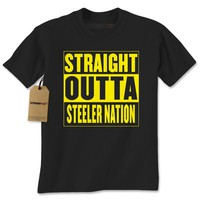 Straight Outta Steeler Nation Football Mens T-shirt