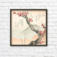 Cherry Blossom and Mount Fuji Japanese Oriental Print - Wall Art Poster 135 - Asian Decor