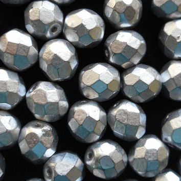 Lot of 25 8mm Matte Silver Czech glass beads, firepolished, faceted round beads, C3525