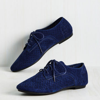 Picture Perforate Flat in Blueberry | Mod Retro Vintage Flats | ModCloth.com