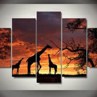 Giraffe Sunset Silhouette 5-Piece Wall Art Canvas