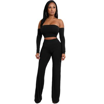 Autumn Off Shoulder Sexy Women Two Pieces Set Backless Bandages Lace Up Slim Crop Top and Long Pants Trousers Club Ladies Suits